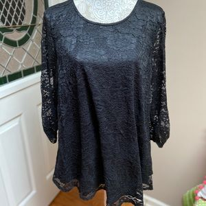 Black Solid Lace Tunic